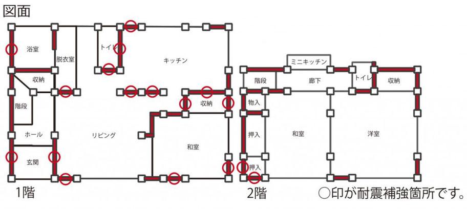 耐震補強部分の施工図