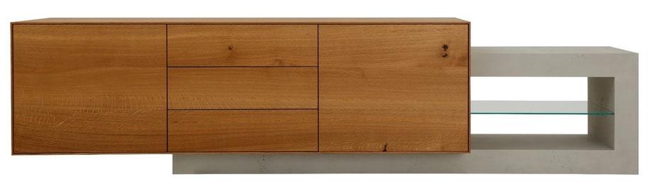 sideboard von design11 in holz und beton, designed, samuel bur, selzach, solothurn