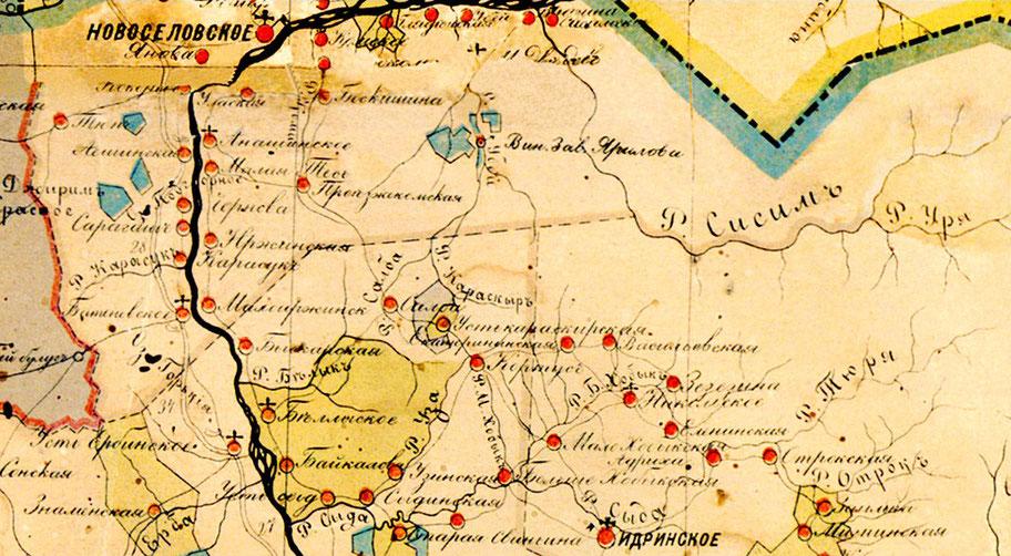 Карта Абаканской волости 1889 г.