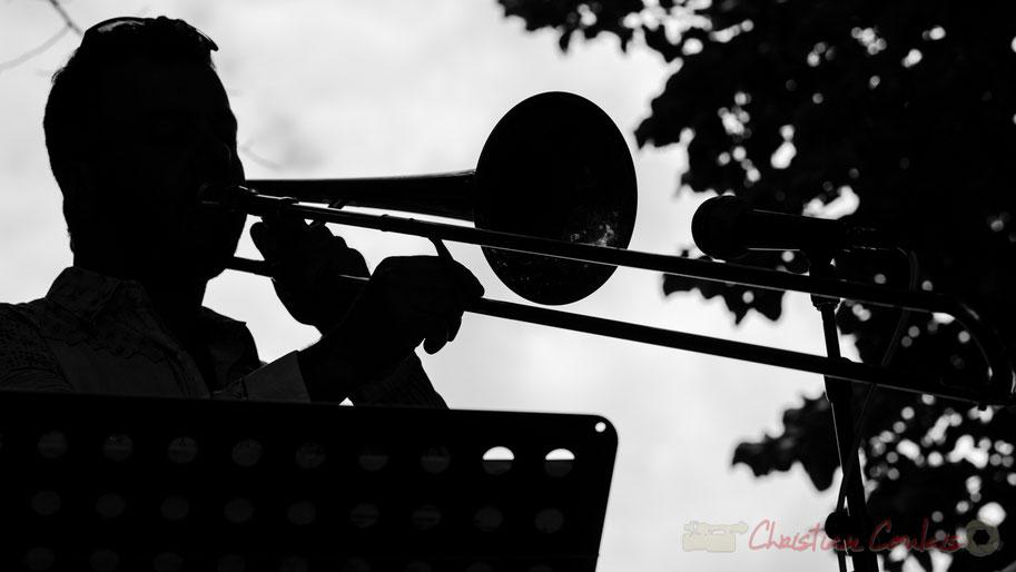 Daniel Zimmermann, Eric Séva Quartet, Festival JAZZ360 2016, Camblanes-et-Meynac, noir et blanc, contre-jour, 11/06/2016