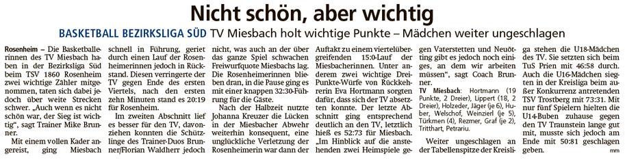 Bericht im Miesbacher Merkur am 26.11.2019 - Zum Vergrößern klicken