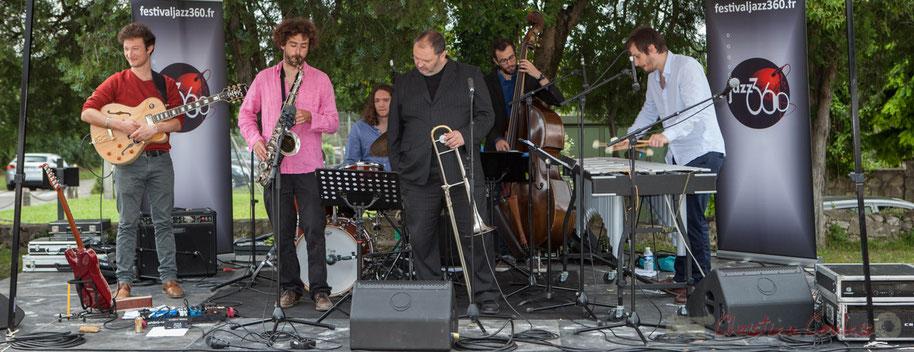 Alexis Valet Quartet : Yori Moy, Brice Matha, Jéricho Ballan, Sébastien Arruti, Aurélien Gody, Alexis Valet. Festival JAZZ360 2016, Quinsac, 12/06/2016