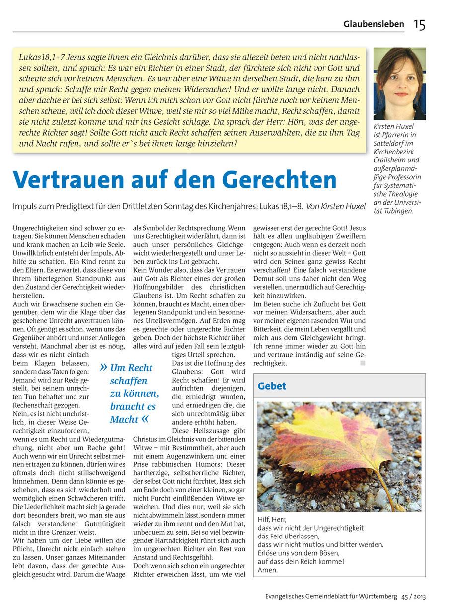 Evangelisches Gemeindeblatt für Württemberg 45 / 2013, S. 15