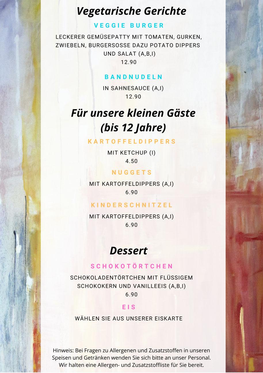 Speisekarte Künstlerhaus Lenz, Speisekarte, Gladenbach, Restaurant in Gladenbach, Cafe in Gladenbach, Pension in Gladenbach, Schnitzel, Steak, Salate, Vegetarisch