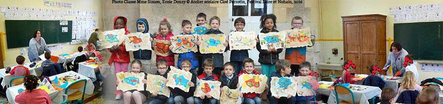 Annonce de l'article sur l'intervention scolaire de l'illustratrice Cloé Perrotin dans la Classe de Mme Simon à Donzy pendant le Festival littéraire Loire et Nohain