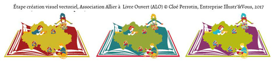 Visuels d'une étape couleurs de la création du visuel vectoriel par Cloé Perrotin pour l'association Allier à Livre Ouvert de l'Allier