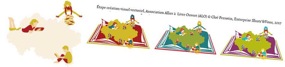 Annonce de l'article relatant le processus créatif du visuel vectoriel pour l'association Allier à Livre Ouvert par la graphiste Cloé Perrotin