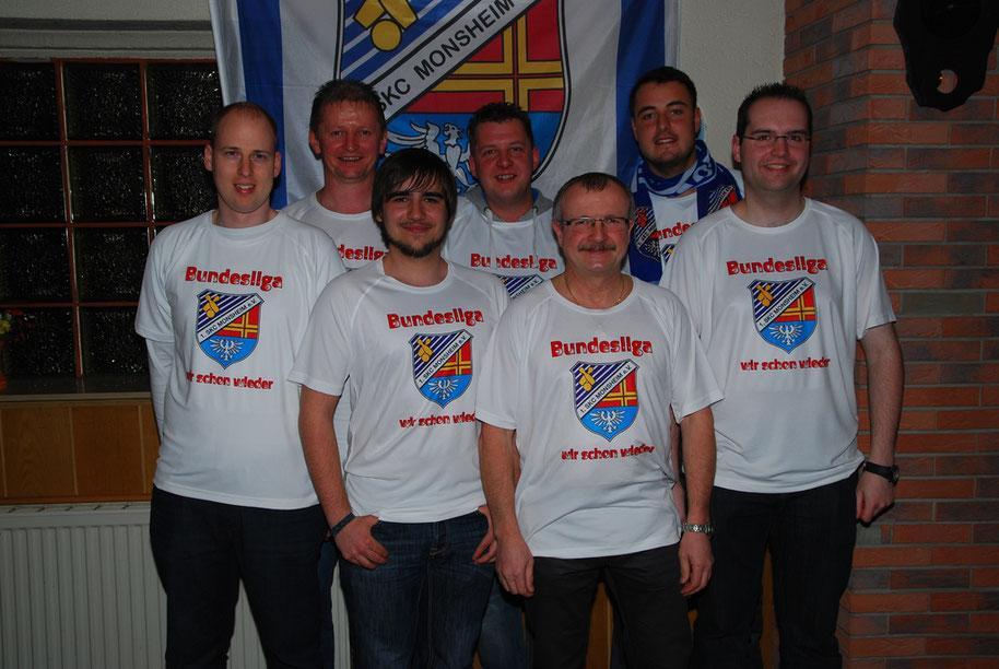v. l. Dennis Kraus, Kapitän Andreas Schork, Marco Lipka, Tobias Uhrig, Edwin Zakostelny, Sportwart Max Hudel und Sebastian Klonner