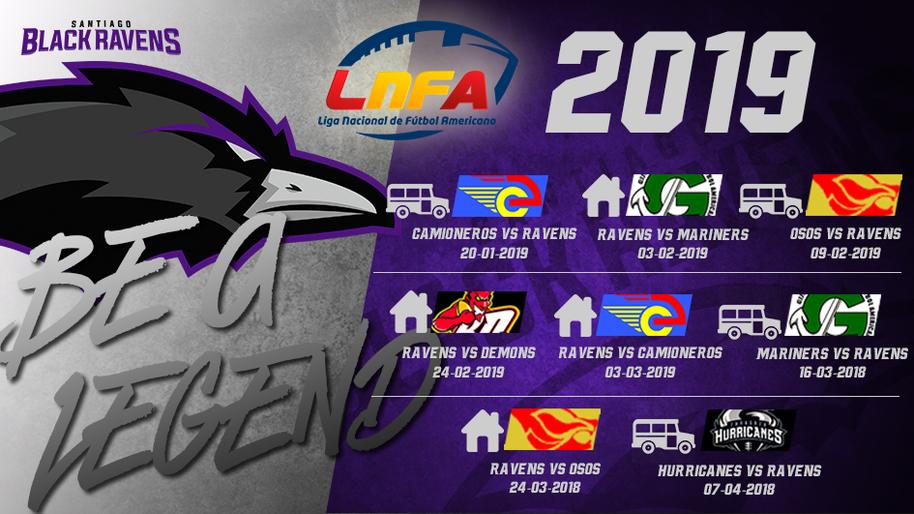 Calendario LNFA 2019 - Santiago Black Ravens