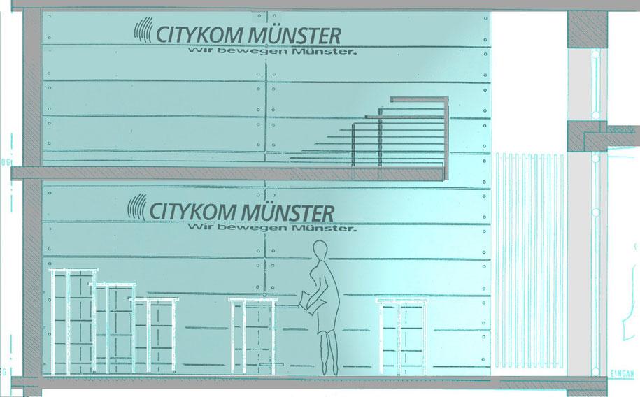 stadtwerke citykom klemensstrasse münster,bild1 glaswand , wir bewegen münster, bockhaus-odenthal architekten münster, architektur,immobilien, desig