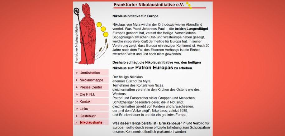 Online-Auftritt der Frankfurter Nikolausinitiative Foto: Screenshot von http://www.kath.de/nikolaus/