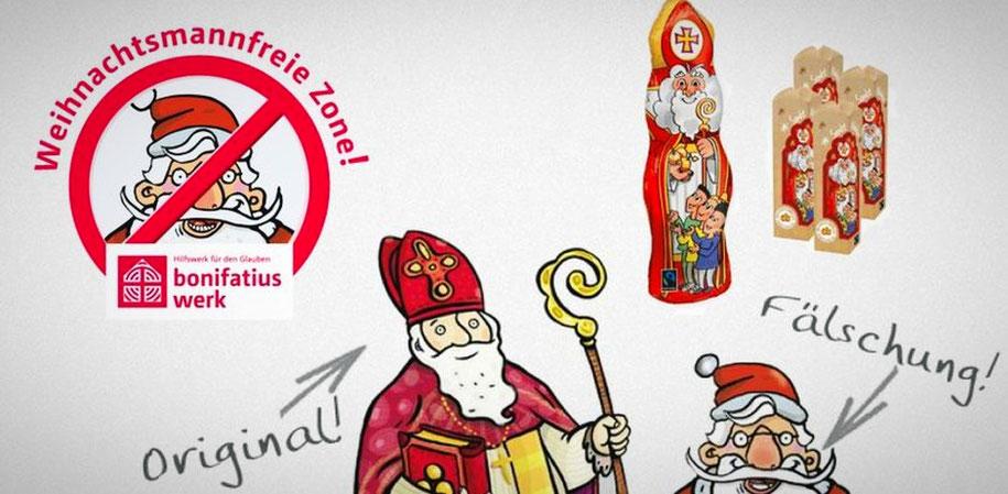"""Aktion """"Weihnachtsmannfreie Zone"""" des Bonifatiuswerkes"""