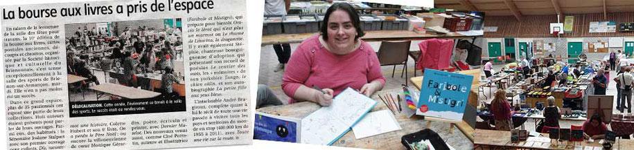 Photomontage annonce de l'article de presse du journal l'Yonne Républicaine en 2017 et le zoom sur l'auteur illustratrice Cloé Perrotin
