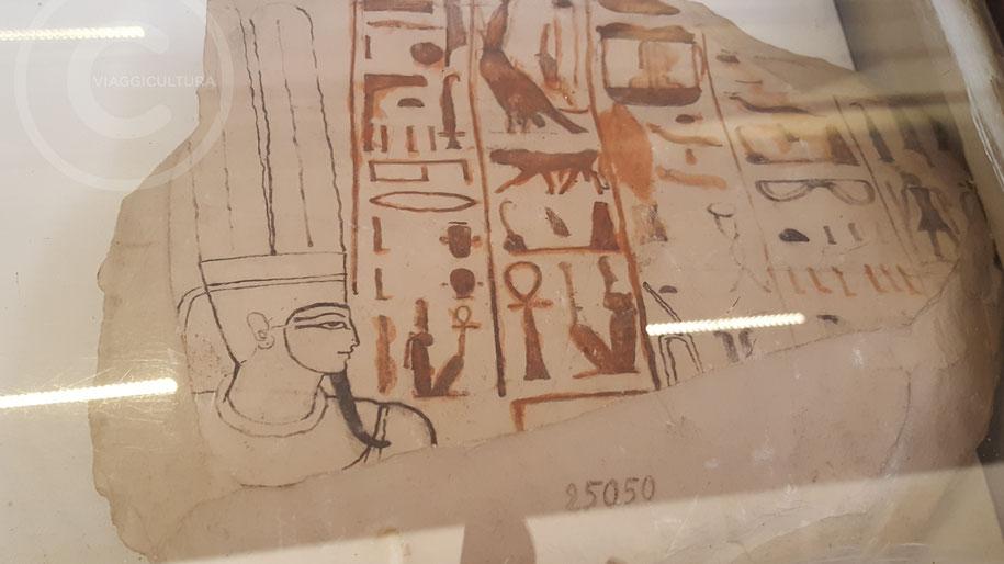 Ostraka utilizzato per esercitarsi nella tecnica di disegno - Museo Egizio del Cairo