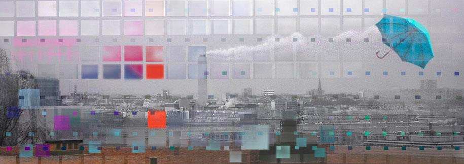 Westwärts Kunstdruck Sicht auf Zürich West mit Kamin Josephswiese