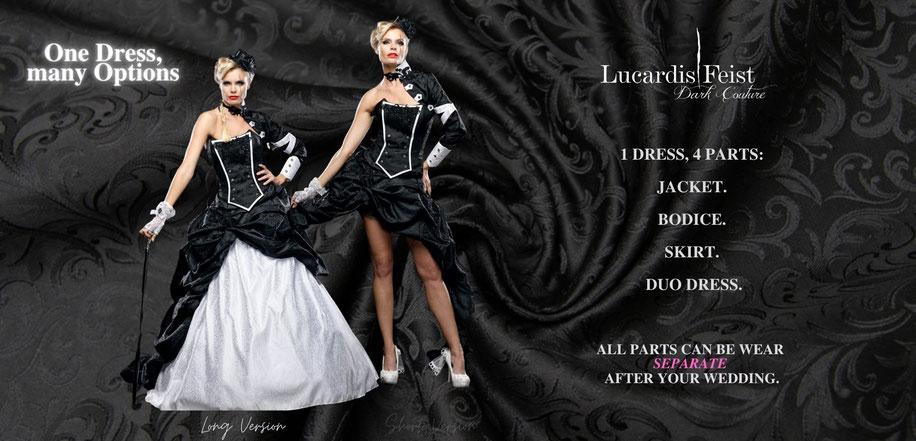 ausgefallene brautkleider, farbige brautkleider, extravagante brautmode, schwarze brautkleider, schwarze brautmode, gothic brautmode, steampunk brautkleider, coole brautmode, spezielle brautmode