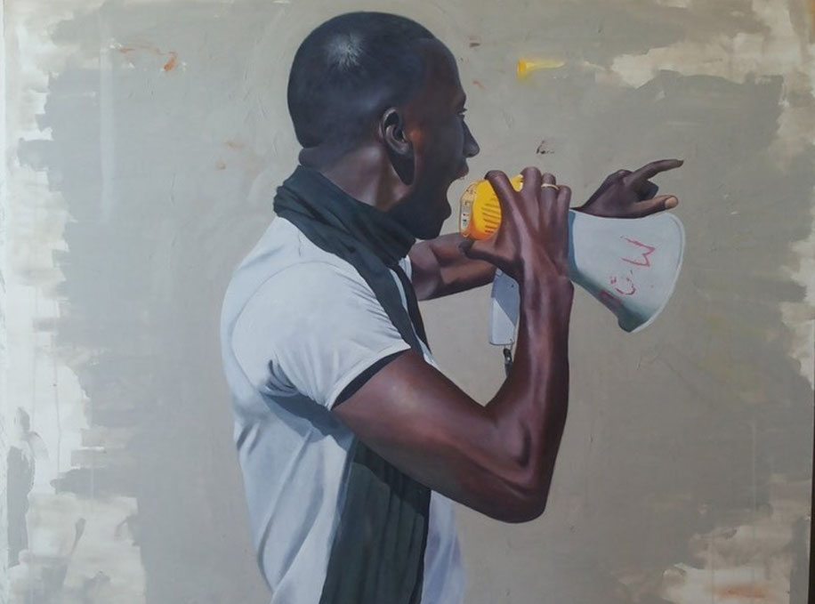 ''Cheikh Fall'' by Saleh Lo, 2015 Acrylic and oil on canvas 110 x 140 cm