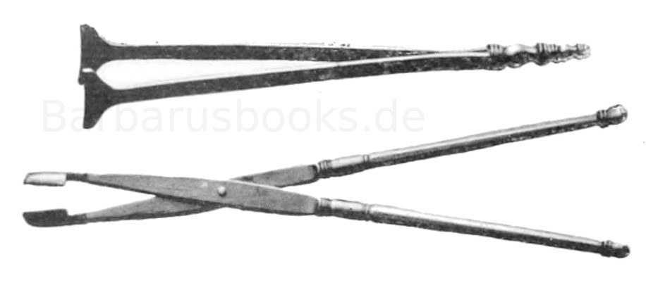 Oben: Chirurgisches Instrument, kl. Zange, 15 cm. Fundort Kästrich in Mainz. Museum Mannheim. Erz. Unten: Chirurgisches Instrument, Wundzange, 18,6 cm. Fundort bei Bonn. Museum Bonn. Erz.