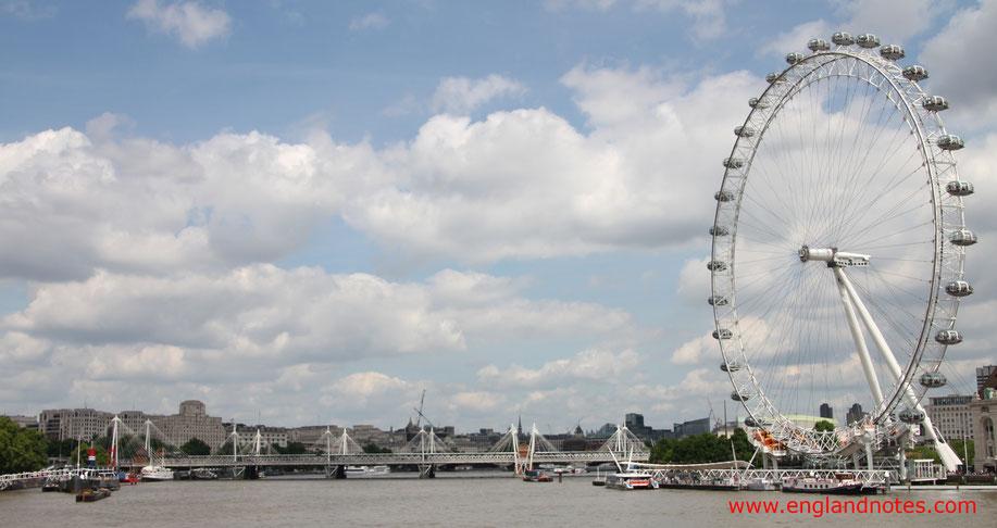 Die besten Sehenswürdigkeiten in London: London Eye, die Themse in Richtung Hungerford Bridge
