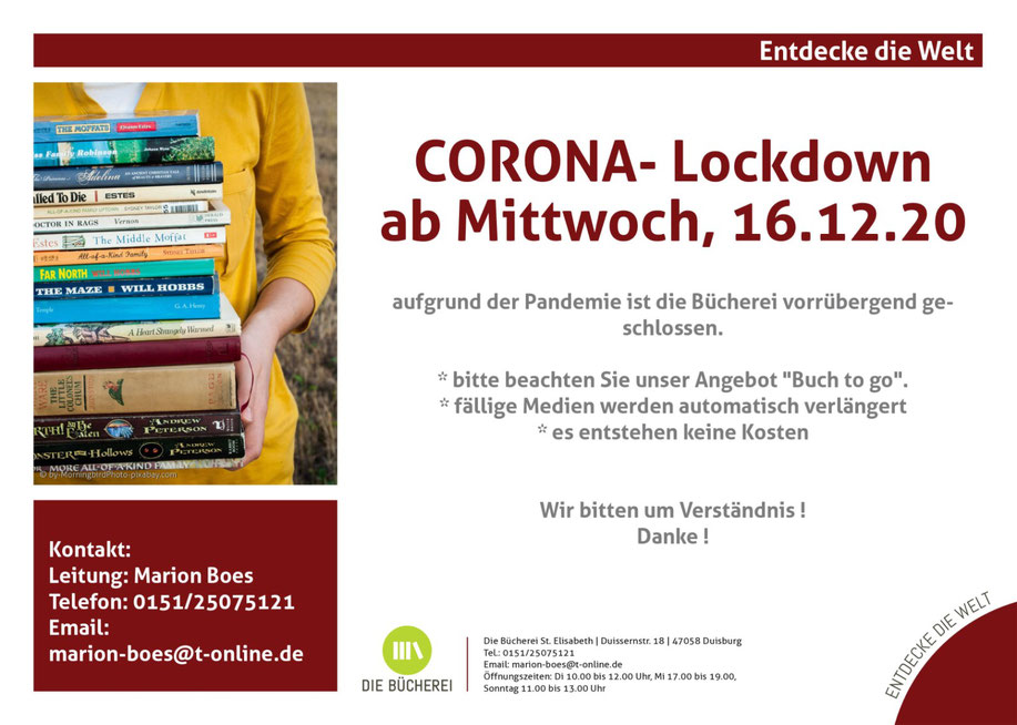 CORONA-Lockdown ab Mittwoch, 16.12.20