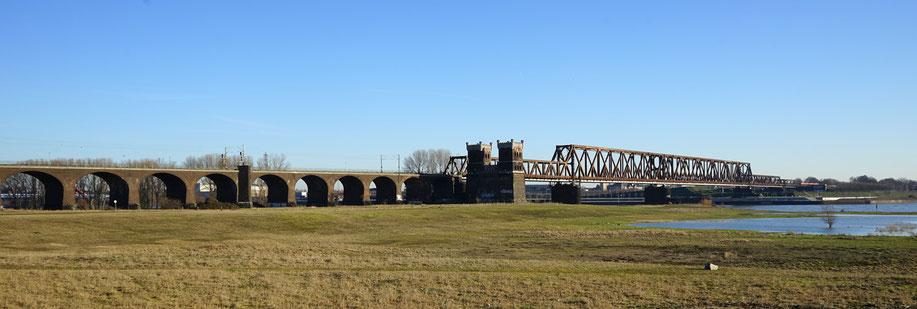 Blick von Südwesten auf die Lebensräume C und D. Die Eisenbahnbrücke mit nur einem Teil der 19 Ziegelgewölbe. Im Vorfeld der Brücke das Gelände der ehemaligen Trajektanstalt.