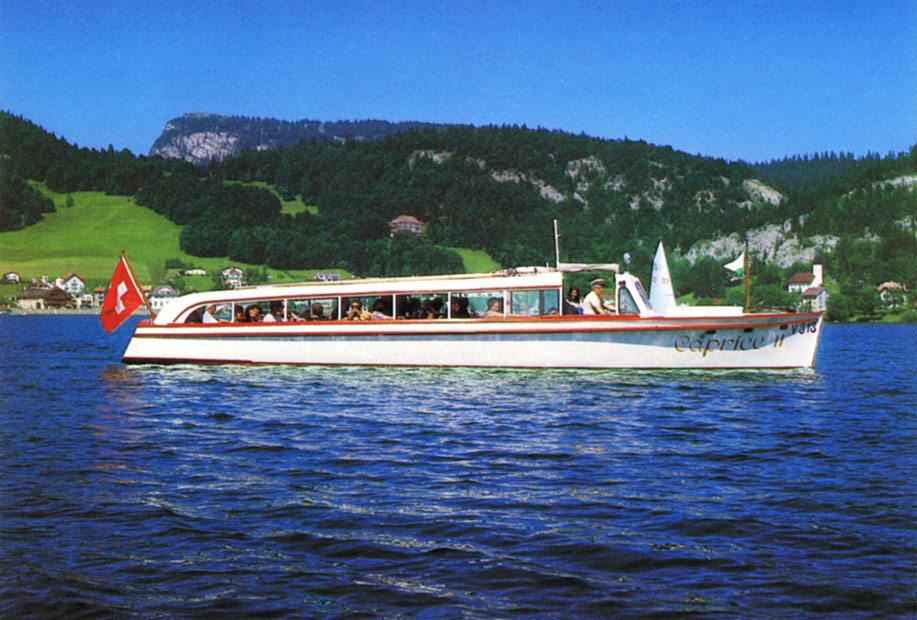 "The boat ""Caprice II"" animates in summer our beautiful ""Lac de Joux"" © Edition Deriaz Baulmes"