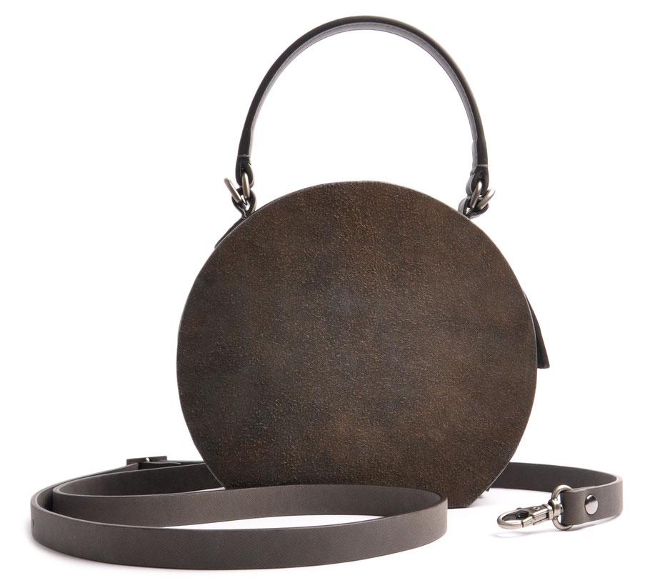 Nostalgische Tasche GRETA  Leder grau OSTWALD Traditional Craft