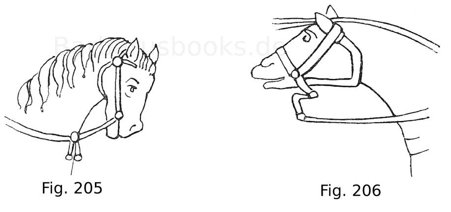 Fig. 205. Zäumung eines Pferdes mit der Trense. Aus dem Psalterium aureum von St. Gallen. 9. Jahrhundert. Fig. 206. Zäumung eines Pferdes aus dem Teppich von Bayeux. 11. Jahrhundert, Ende.