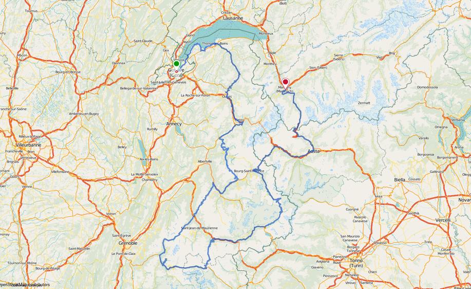 Landkarte, Fahrradtour Frankreich, Tour Bon courage, eplatzer