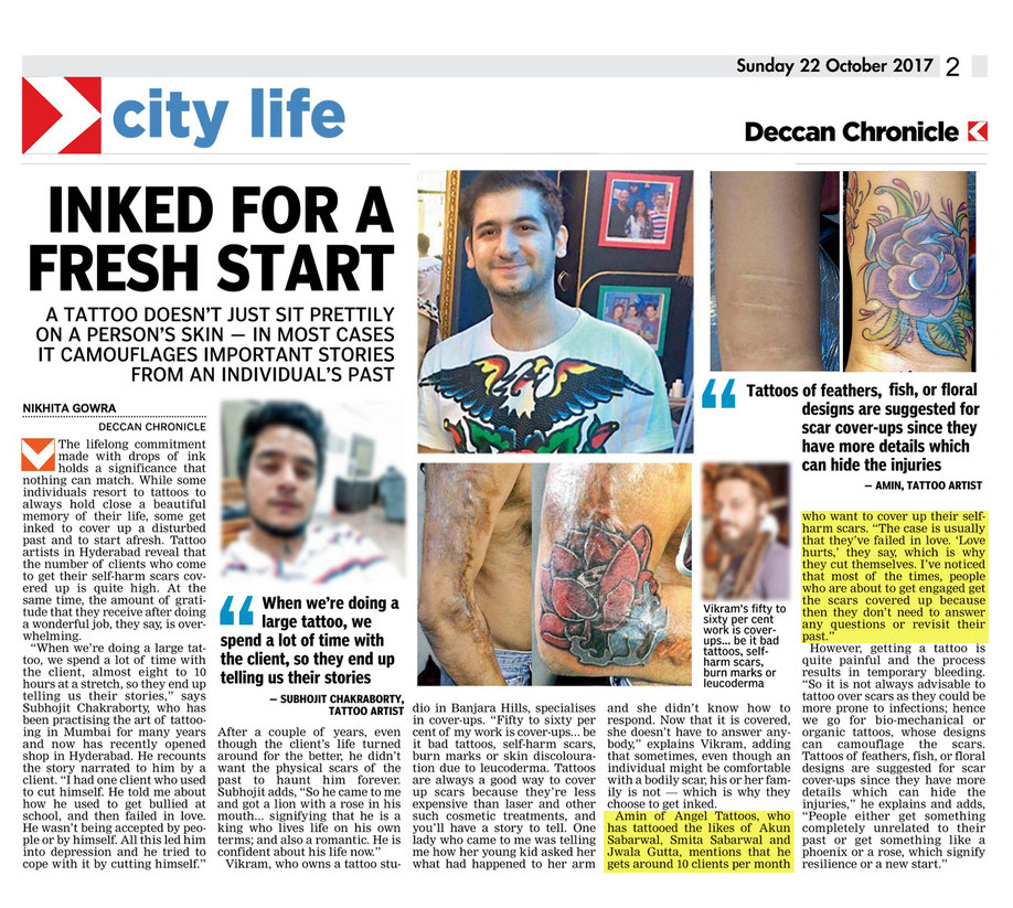 #tattoo article deccan chronicle newspaper amin sultan hajiani best professional tattoo artist hyderabad