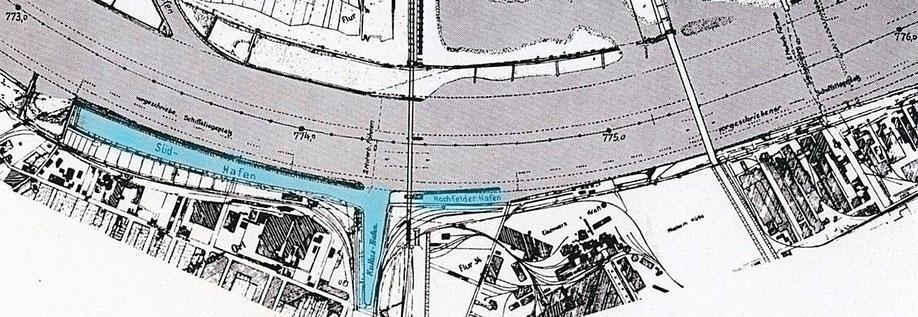 Zwischen Stromkilometer 773 und 775 km, die rechtrheinisch liegende Hochfelder Hafengruppe.  Der in der Bildmitte unten liegende Kultushafen entstand in dem ehemaligen Einschnitt der Trajektanlage. Quelle: Der Rhein, Ausbau, Verkehr, Verwaltung 1951