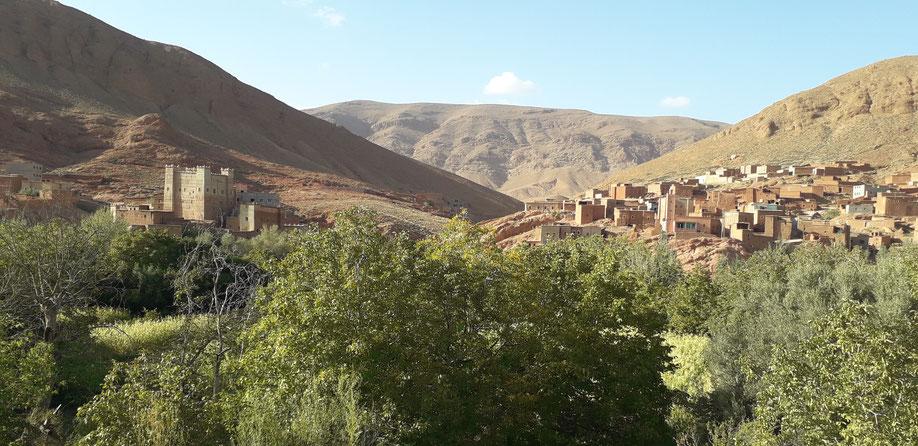 Vallée des milles kasbah.Au loin la grande kasbah,  faite de montagne.