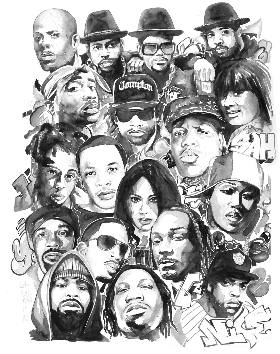 Hip Hop all stars watercolor portrait by bobsmade
