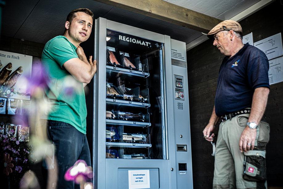 Automat Forellomat Forell-o-mat Verkaufsautomat Fisch Frischer Fisch Fischzucht Forellenzucht Simon