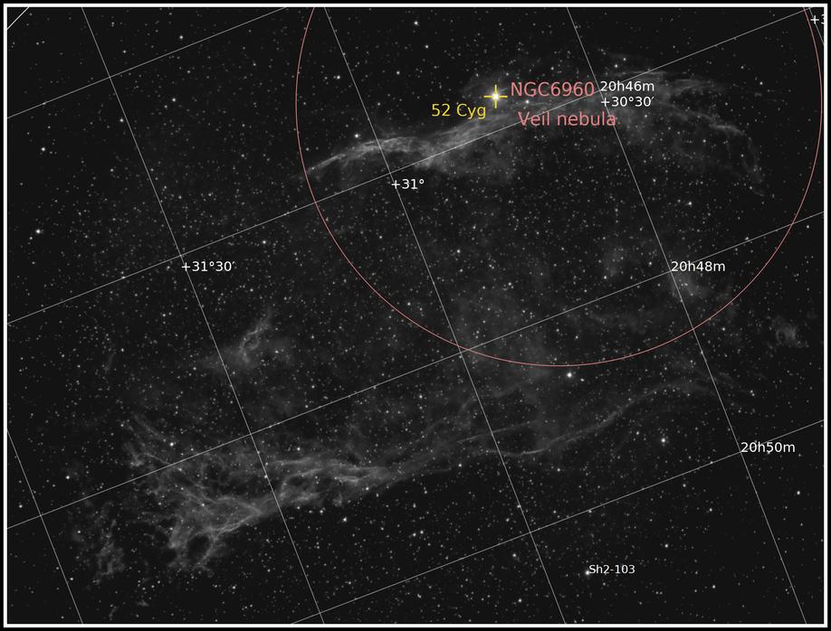 NGC 6960 und Pickering´s Triangle - Erstes H-Alpha-Bild  Objektidentifikation - MeixnerObservatorium