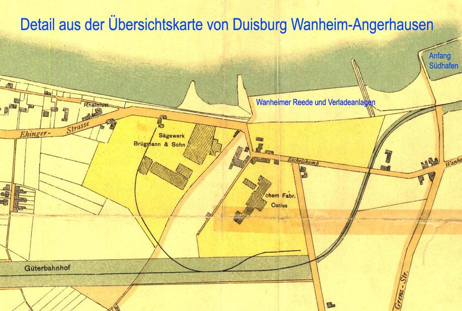 Die Übersichtskarte zeigt die Wanheimer Reede und den Anfang des Südhafens bei Stromkilometer 733.  Das Sägewerk Brügmann & Sohn war  größter Nutznießer der Hafenanlagen,  hier  wurden vorwiegend Holzflösse und Schiffsladungen von Holz angeliefert.