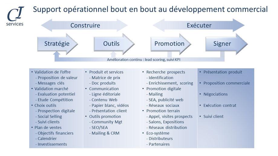 le developpement commercial inclue un certain nombre de phases et de taches comme la mise en place de la strategie, des outils marketing le lancement de la promotion suivi de la negociation et prise de commande