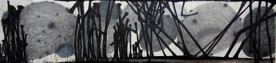o.t., zeichnung auf bütten, 133x33 cm, 2013