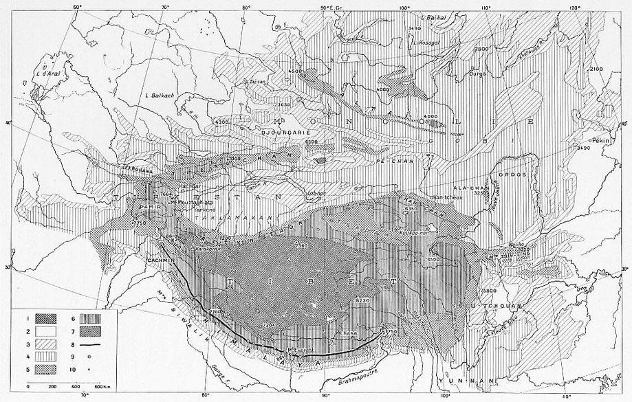 Carte hypsométrique de la Haute Asie. Fernand Grenard (1866-1942) : Haute Asie. [Mongolie, Turkestan chinois, Tibet]. Deuxième partie du tome VIII de la Géographie Universelle. Colin, Paris, 1929.