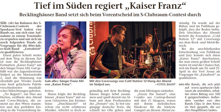 Recklinghäuser Zeitung, 10.02.2015 © Sebastian Balint