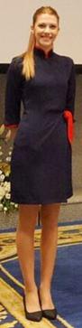 Uniforme de azafata azul marino cuello japonés
