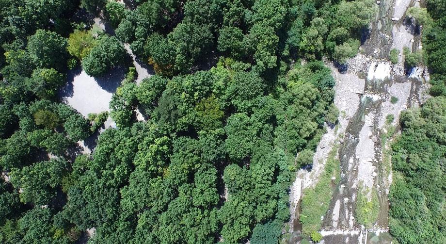 南アルプス三景園オートキャンプ場空撮