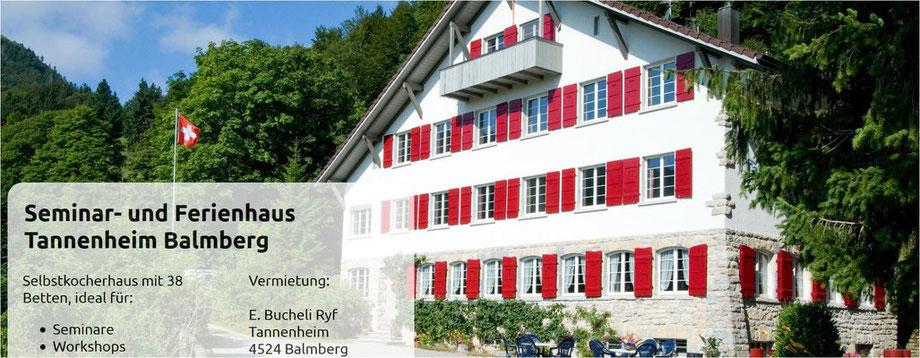 Seminar- und Ferienhaus Tannenheim für Lager und Kurse in der Schweiz direkt an schönen Wanderrouten des Juras