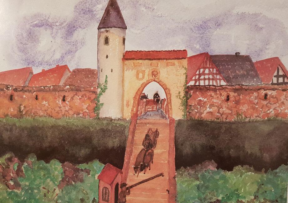 """Das Aquarell von Ingeborg Hulverscheidt zeigt das Ober- oder """"Rödertor"""" mit dem Hain, der die Mauer bis zum Ende des 18. Jahrhunderts umgeben hat."""
