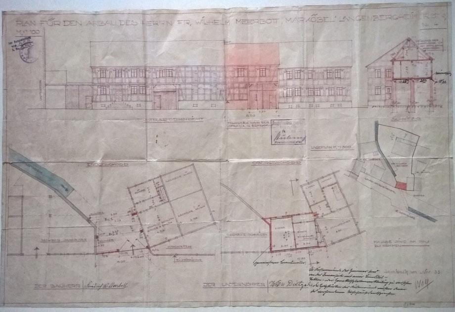 """1934: Bauzeichnung des """"Torhauses"""" zwischen den Hofreiten Langen-Bergheimer-Str. 4 und 6. Der Bauherr war Fritz Meerbott"""