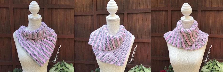 """Cuello o bufanda corta en punto imitación """"elástico"""" del tricot"""