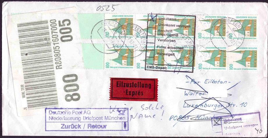portogerechter Eilbrief 16. Juli 1997 mit DM 10,00 (DM 1,00 Porto + Eilbriefgebühr DM 9,00)