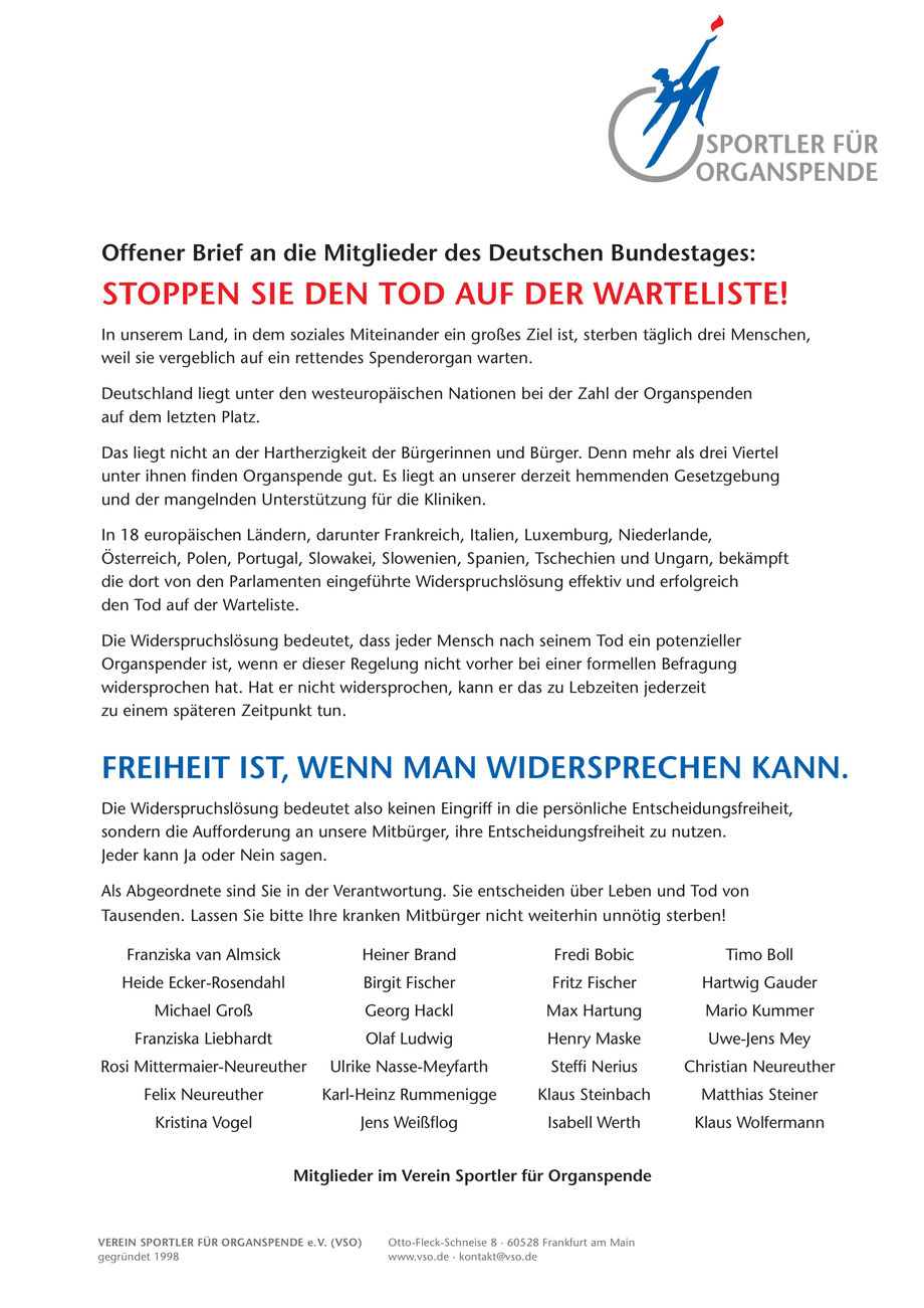 Offener Brief An Die Abgeordneten Des Bundestages Franziska
