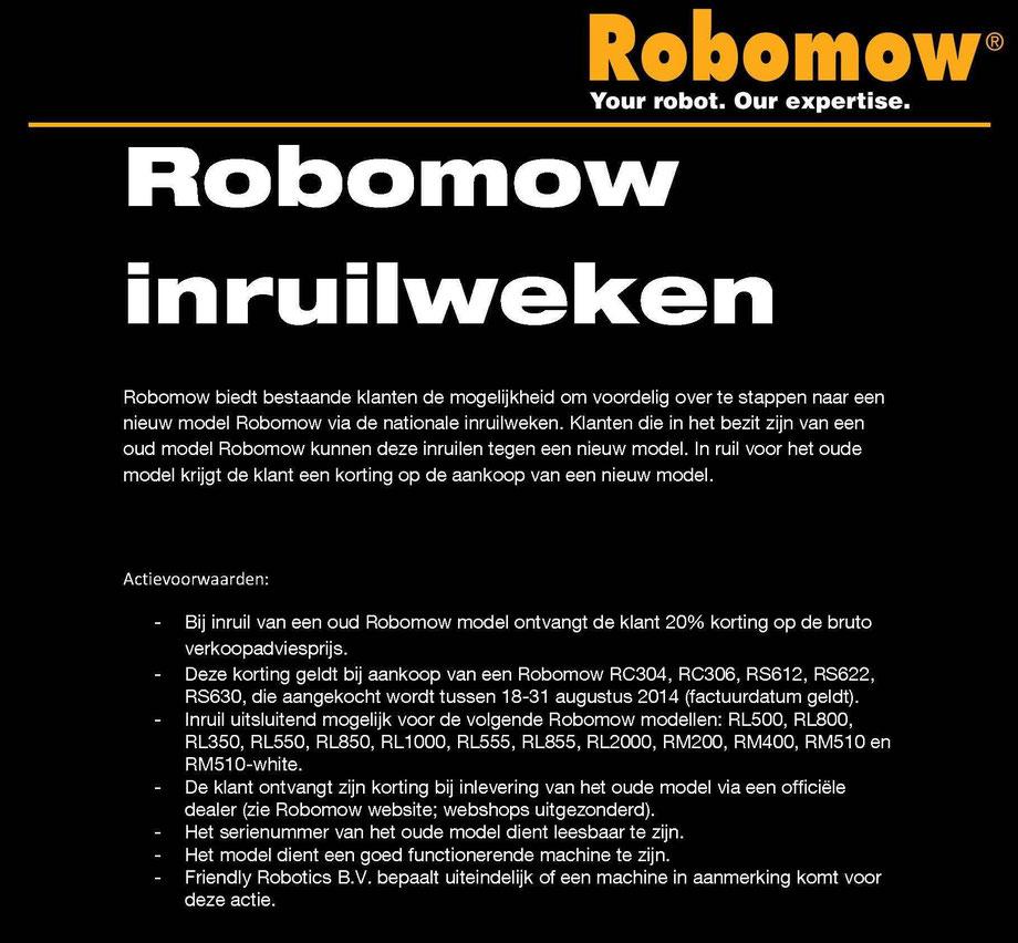 inruilactie robomow 18 8 tot 31 08 robomow robotmaaier verkoop installatie en service. Black Bedroom Furniture Sets. Home Design Ideas
