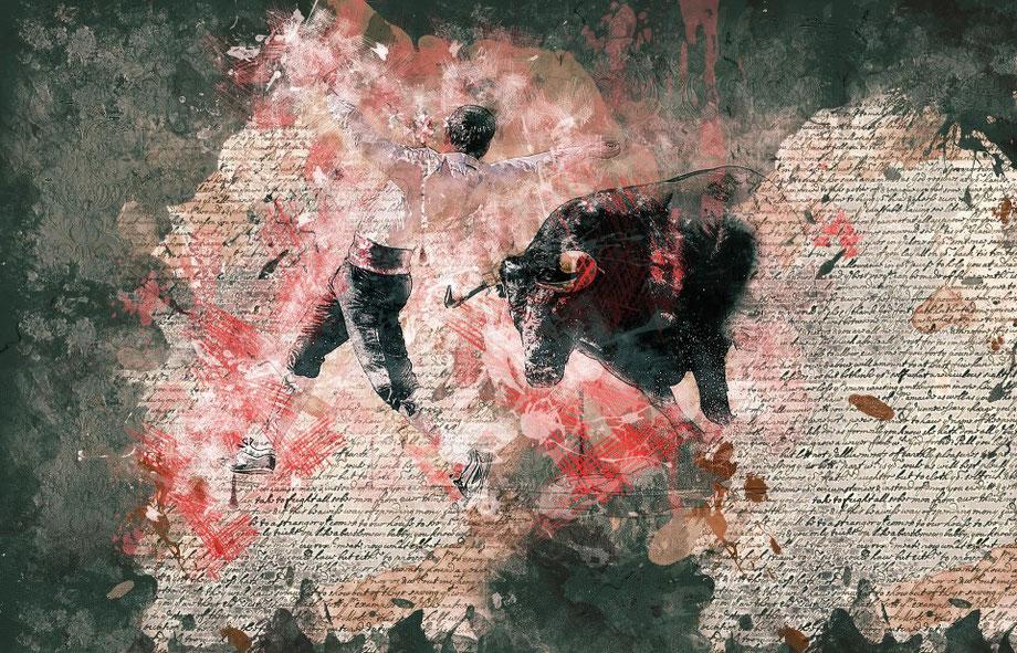 Ein künstlerisches Bild eines spanischen Stierkämpfers.